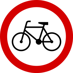 Traffic sign of Poland: Cyclists prohibited