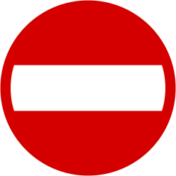 Traffic sign of Poland: Entry prohibited (road with one-way traffic)