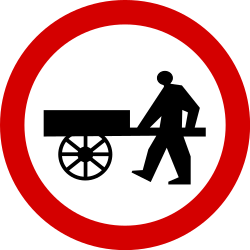 Traffic sign of Poland: Handcarts prohibited