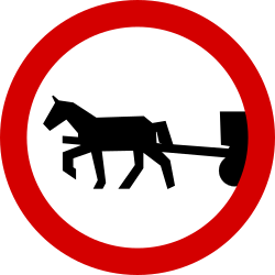 Traffic sign of Poland: Horsecarts prohibited