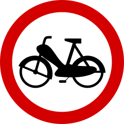 Traffic sign of Poland: Mopeds prohibited