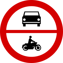 Traffic sign of Poland: Motorcycles and cars prohibited