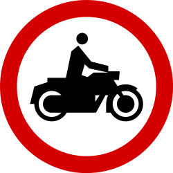 Traffic sign of Poland: Motorcycles prohibited