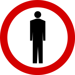 Traffic sign of Poland: Pedestrians prohibited