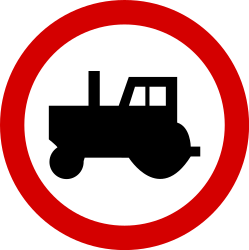 Traffic sign of Poland: Tractors prohibited