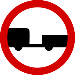 Traffic sign of Poland: Trailers prohibited