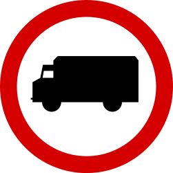 Traffic sign of Poland: Trucks prohibited