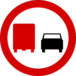 Traffic sign of Poland: Overtaking prohibited for trucks