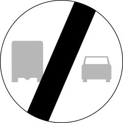 Traffic sign of Poland: End of the overtaking prohibition for trucks