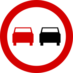 Traffic sign of Poland: Overtaking prohibited