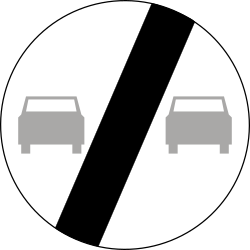 Traffic sign of Poland: End of the overtaking prohibition