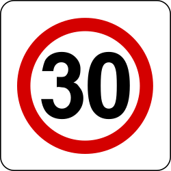 Traffic sign of Poland: Begin of a zone with speed limit