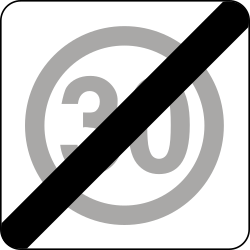 Traffic sign of Poland: End of the zone with speed limit