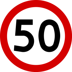 Traffic sign of Poland: Driving faster than indicated prohibited (speed limit)