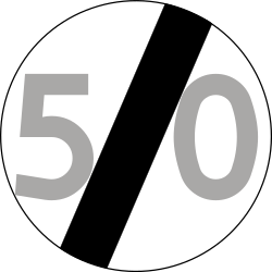 Traffic sign of Poland: End of the speed limit