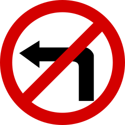 Traffic sign of Poland: Turning left prohibited