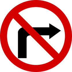 Traffic sign of Poland: Turning right prohibited