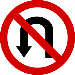 Traffic sign of Poland: Turning around prohibited (U-turn)