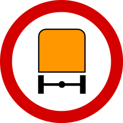 Traffic sign of Poland: Vehicles with dangerous goods prohibited