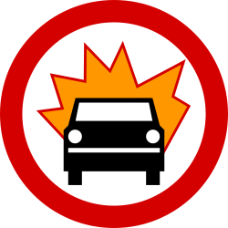 Traffic sign of Poland: Vehicles with explosive materials prohibited