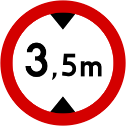 Traffic sign of Poland: Vehicles higher than indicated prohibited