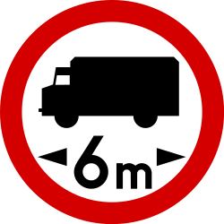 Traffic sign of Poland: Vehicles longer than indicated prohibited