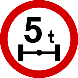 Traffic sign of Poland: Vehicles with an axle weight heavier than indicated prohibited