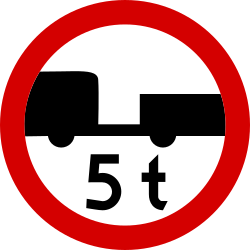 Traffic sign of Poland: Trailers heavier than indicated prohibited