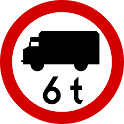 Traffic sign of Poland: Trucks heavier than indicated prohibited