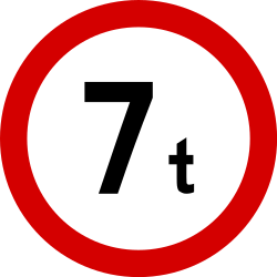 Traffic sign of Poland: Vehicles heavier than indicated prohibited