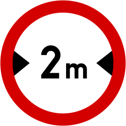 Traffic sign of Poland: Vehicles wider than indicated prohibited