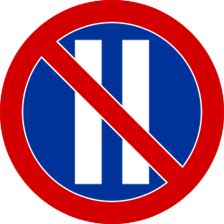 Traffic sign of Poland: Parking prohibited on even dates
