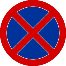 Traffic sign of Poland: Parking and stopping prohibited