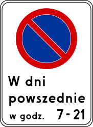 Traffic sign of Poland: Begin of zone where parking is prohibited