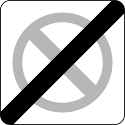 Traffic sign of Poland: End of the zone where parking is prohibited
