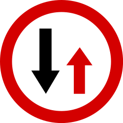 Traffic sign of Poland: Road narrowing, give way to oncoming drivers