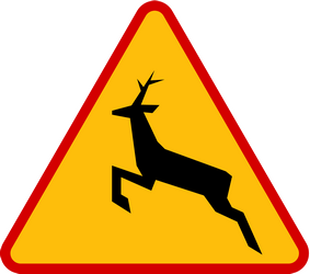 Traffic sign of Poland: Warning for crossing deer