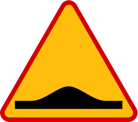 Traffic sign of Poland: Warning for a speed bump