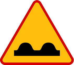 Traffic sign of Poland: Warning for a bad road surface