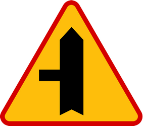 Traffic sign of Poland: Warning for a crossroad with a side road on the left