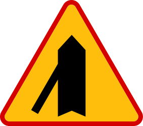 Traffic sign of Poland: Warning for a crossroad with a sharp side road on the left