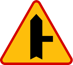Traffic sign of Poland: Warning for side road on the right