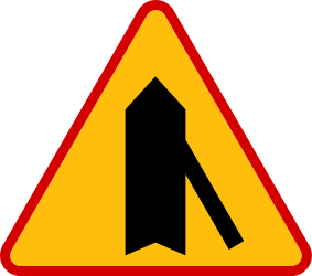 Traffic sign of Poland: Warning for a crossroad with a sharp side road on the right
