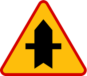 Traffic sign of Poland: Warning for a crossroad side roads on the left and right