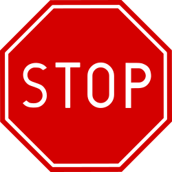 Traffic sign of Poland: Stop and give way to all drivers