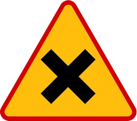 Traffic sign of Poland: Warning for an uncontrolled crossroad
