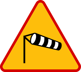 Traffic sign of Poland: Warning for heavy crosswind
