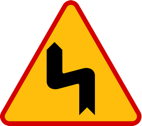 Traffic sign of Poland: Warning for a double curve, first left then right