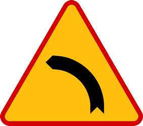 Traffic sign of Poland: Warning for a curve to the left