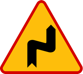 Traffic sign of Poland: Warning for a double curve, first right then left